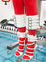 Rubber clinic patient leg braces