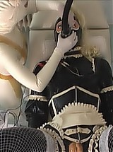 Dressed in finest rubber, beautifully styled with lady rubber face and a second rubberhood with blond ponytail over that, tits and rubber cunt, RubberDoll Uschi finally betakes herself to Madame Zoes Rubber Clinic, to be under examination by her mist...