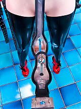 The rubber clinic patient is taken on the chastity belt