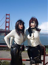 Rubber sisters took a special sight seeing tour completely dressed in rubber and masks to the most seenic places of the city