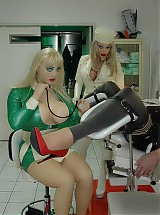 The patient enjoyed the medical treatment with the 2 rubber doctors